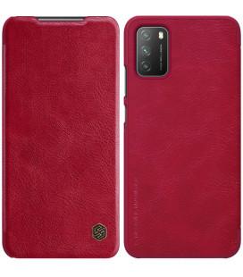 """Odinis raudonas atverčiamas dėklas Xiaomi Poco M3 telefonui """"Nillkin Qin"""""""