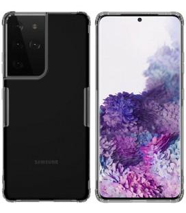 """Skaidrus/pilkas silikoninis dėklas Samsung Galaxy S21 Ultra telefonui """"Nillkin Nature"""""""