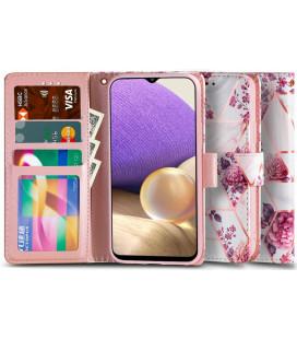 """Atverčiamas dėklas Samsung Galaxy A32 LTE telefonui """"Tech-protect Wallet Floral Rose"""""""