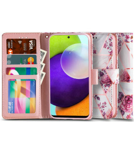 """Atverčiamas dėklas Samsung Galaxy A52 LTE/5G telefonui """"Tech-protect Wallet Floral Rose"""""""