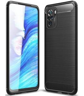 """Juodas dėklas Xiaomi Redmi Note 10/10S telefonui """"Tech-Protect TPUCarbon"""""""