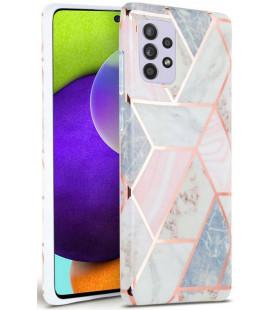 """Rožinis dėklas su marmuro efektu Samsung Galaxy A72 telefonui """"Tech-Protect Marble"""""""