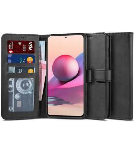 """Juodas atverčiamas dėklas Xiaomi Redmi Note 10/10S telefonui """"Tech-protect Wallet 2"""""""