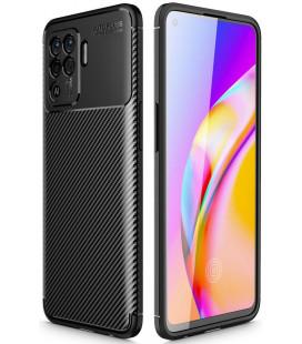 """Juodas dėklas Oppo Reno 5 Lite telefonui """"Tech-Protect TPUCarbon"""""""
