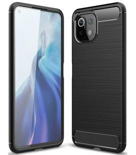 "Juodas dėklas Xiaomi Mi 11 Lite / Mi 11 Lite 5G telefonui ""Tech-Protect TPUCarbon"""