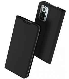 """Juodas atverčiamas dėklas Xiaomi Redmi Note 10 Pro telefonui """"Dux Ducis Skin Pro"""""""