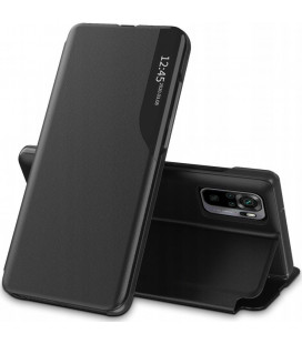 """Juodas atverčiamas dėklas Xiaomi Redmi Note 10 Pro telefonui """"Tech-protect Smart View"""""""