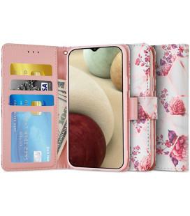 """Atverčiamas dėklas Samsung Galaxy A12 2020 / 2021 telefonui """"Tech-protect Wallet Floral Rose"""""""
