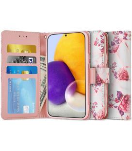 """Atverčiamas dėklas Samsung Galaxy A72 telefonui """"Tech-protect Wallet Floral Rose"""""""