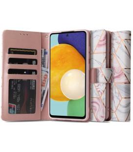 """Atverčiamas dėklas Samsung Galaxy A52 LTE/5G telefonui """"Tech-protect Wallet Marble"""""""