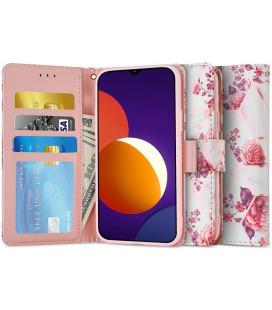 """Atverčiamas dėklas Samsung Galaxy M12 telefonui """"Tech-protect Wallet Floral Rose"""""""
