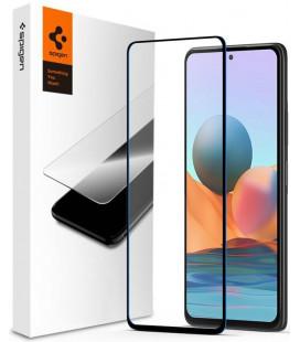 "Juodas apsauginis grūdintas stiklas Xiaomi Redmi Note 10/10S telefonui ""Spigen Glas.TR Slim"""