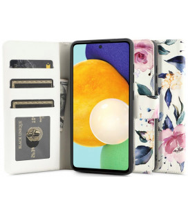"Atverčiamas dėklas Samsung Galaxy A52 LTE/5G telefonui ""Tech-protect Wallet Floral White"""
