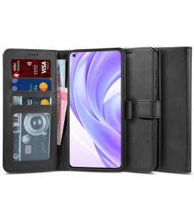 """Juodas atverčiamas dėklas Xiaomi Mi 11 Lite / Mi 11 Lite 5G telefonui """"Tech-protect Wallet 2"""""""