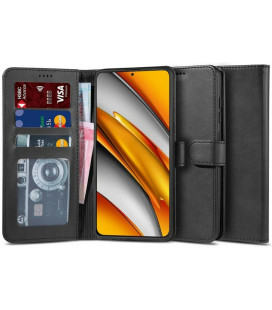 """Juodas atverčiamas dėklas Xiaomi Poco F3 / Mi 11i telefonui """"Tech-protect Wallet 2"""""""