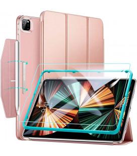 """Rausvai auksinės spalvos atverčiamas dėklas + Apsauginis grūdintas stiklas Apple iPad Pro 12.9 2021 planšetei """"ESR"""""""
