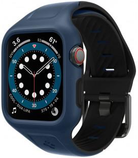 """Mėlynas dėklas Apple Watch 4/5/6/SE (44mm) laikrodžiui """"Spigen Liquid Air Pro"""""""