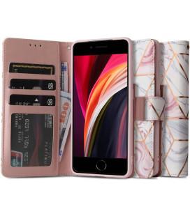 """Atverčiamas dėklas Apple iPhone 7/8/SE 2020 telefonui """"Tech-protect Wallet Marble"""""""