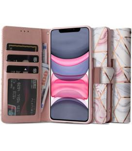 """Atverčiamas dėklas Apple iPhone 11 telefonui """"Tech-protect Wallet Marble"""""""