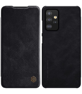 """Odinis juodas atverčiamas dėklas Samsung Galaxy A52 telefonui """"Nillkin Qin"""""""