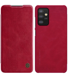 """Odinis raudonas atverčiamas dėklas Samsung Galaxy A52 telefonui """"Nillkin Qin"""""""