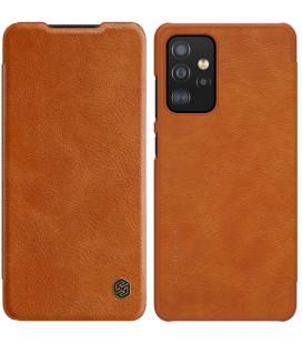 """Odinis rudas atverčiamas dėklas Samsung Galaxy A52 telefonui """"Nillkin Qin"""""""