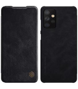 """Odinis juodas atverčiamas dėklas Samsung Galaxy A72 telefonui """"Nillkin Qin"""""""