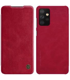 """Odinis raudonas atverčiamas dėklas Samsung Galaxy A72 telefonui """"Nillkin Qin"""""""