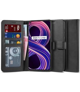 """Juodas atverčiamas dėklas Realme 8 5G telefonui """"Tech-protect Wallet 2"""""""