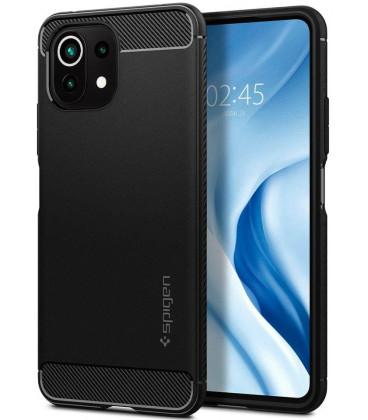 "Juodas dėklas Xiaomi Mi 11 Lite / Mi 11 Lite 5G telefonui ""Spigen Rugged Armor"""