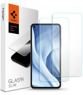 """Apsauginis grūdintas stiklas Xiaomi Mi 11 Lite / Mi 11 Lite 5G telefonui """"Spigen Glas.TR Slim 2-Pack"""""""