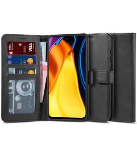 """Juodas atverčiamas dėklas Xiaomi Poco M3 Pro 5G / Redmi Note 10 5G telefonui """"Tech-protect Wallet 2"""""""