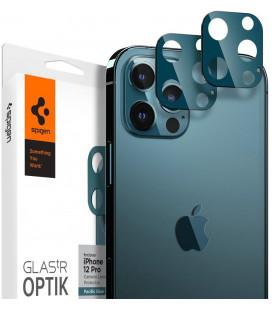 "Mėlynas apsauginis grūdintas stiklas Apple iPhone 12 Pro telefono kamerai apsaugoti ""Spigen Optik.TR Camera Lens"""