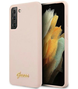 "Rožinis dėklas Samsung Galaxy S21 telefonui ""GUHCS21SLSLMGLP Guess Silicone Metal Logo Script Cover"""