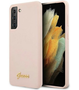 "Rožinis dėklas Samsung Galaxy S21 Plus telefonui ""GUHCS21MLSLMGLP Guess Silicone Metal Logo Script Cover"""