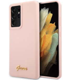 "Rožinis dėklas Samsung Galaxy S21 Ultra telefonui ""GUHCS21LLSLMGLP Guess Silicone Metal Logo Script Cover"""