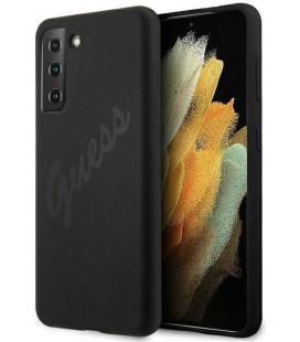 "Juodas dėklas Samsung Galaxy S21 telefonui ""GUHCS21SLSVSBK Guess Silicone Vintage Cover"""