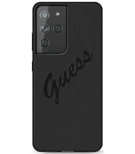 "Juodas dėklas Samsung Galaxy S21 Ultra telefonui ""GUHCS21LLSVSBK Guess Silicone Vintage Cover"""