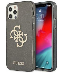 """Juodas dėklas Apple iPhone 12 Pro Max telefonui """"GUHCP12LPCUGL4GBK Guess TPU Big 4G Full Glitter Case"""""""