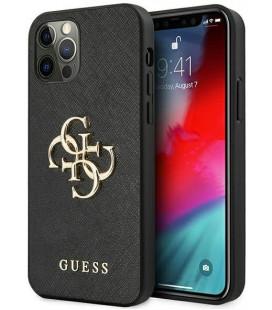 "Juodas dėklas Apple iPhone 12 Pro Max telefonui ""GUHCP12LSA4GGBK Guess PU Saffiano Big 4G Metal Logo Case"""