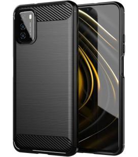 "Juodas dėklas Xiaomi Redmi 9T telefonui ""Tech-Protect TPUCarbon"""