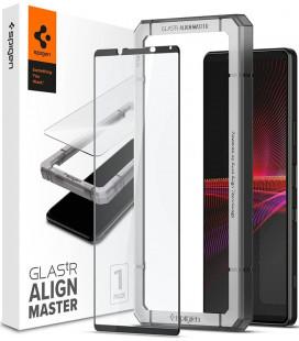 """Juodas apsauginis grūdintas stiklas Sony Xperia 1 III telefonui """"Spigen AlignMaster Glas tR"""""""
