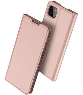 """Rausvai auksinės spalvos atverčiamas dėklas Samsung Galaxy A22 5G telefonui """"Dux Ducis Skin Pro"""""""