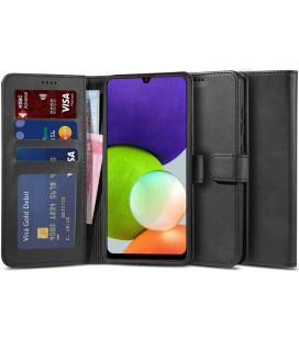 """Juodas atverčiamas dėklas Samsung Galaxy A22 5G telefonui """"Tech-protect Wallet 2""""T """"2"""" GALAXY A22 5G BLACK"""