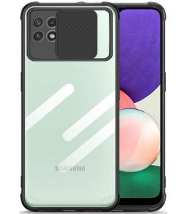 "Juodas dėklas Samsung Galaxy A22 5G telefonui ""Tech-Protect Camshield"""