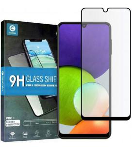 """Juodas apsauginis grūdintas stiklas Samsung Galaxy A22 4G/LTE telefonui """"Mocolo TG Full Glue"""""""