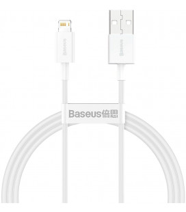 """Baltas USB - Lightning laidas 100cm 2.4A """"Baseus CALYS-A02 Superior"""""""