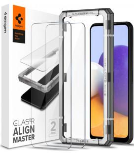 "Apsauginis grūdintas stiklas Samsung Galaxy A22 5G telefonui ""Spigen AlignMaster Glas tR 2-pack"""