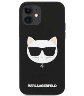 "Juodas dėklas Apple iPhone 12 Mini telefonui ""KLHCP12SSLCHBK Karl Lagerfeld Choupette Head Silicone Case"""