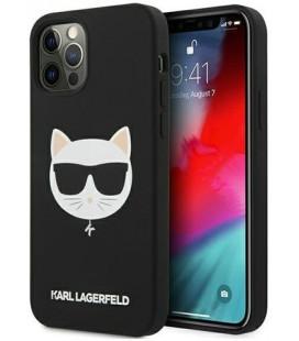 "Juodas dėklas Apple iPhone 12/12 Pro telefonui ""KLHCP12MSLCHBK Karl Lagerfeld Choupette Head Silicone Case"""